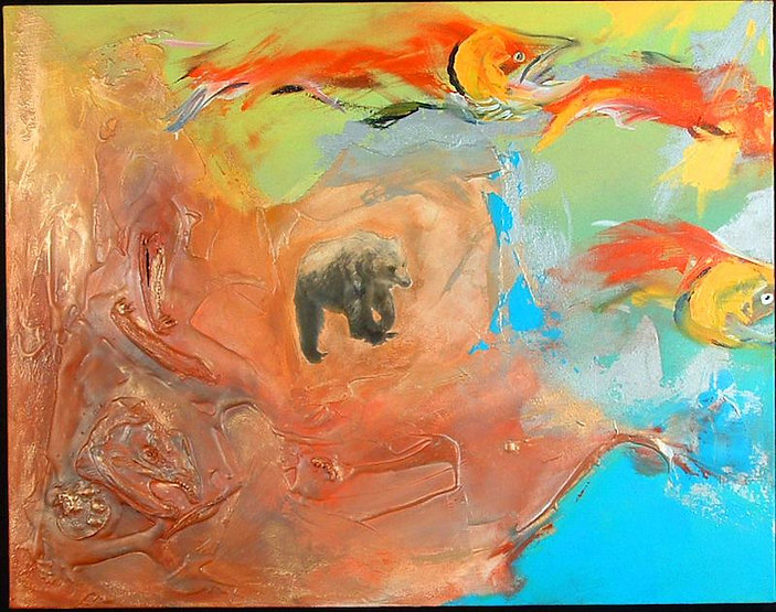 multi-colour mixed media painting titled SOLD-Lasting Outlook by artist maureen enns