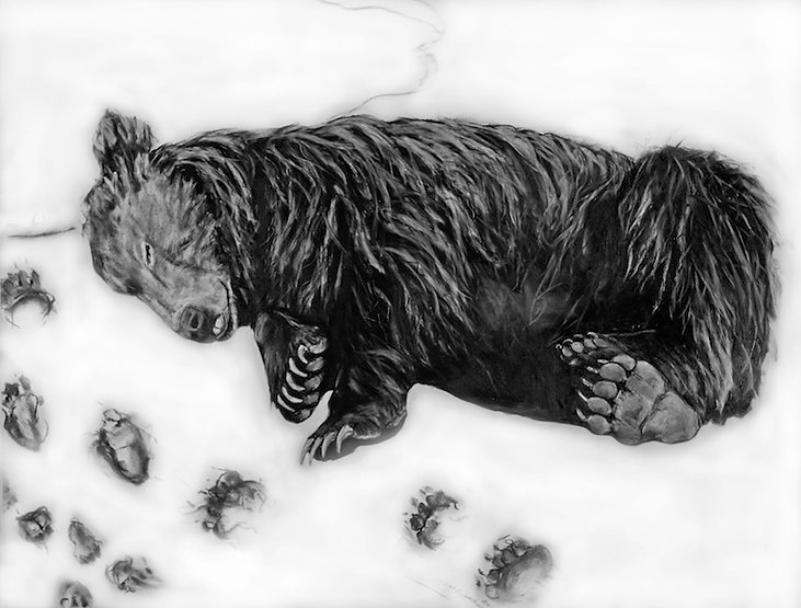 black and white charcoal painting titled Last Glimpseby artist maureen enns