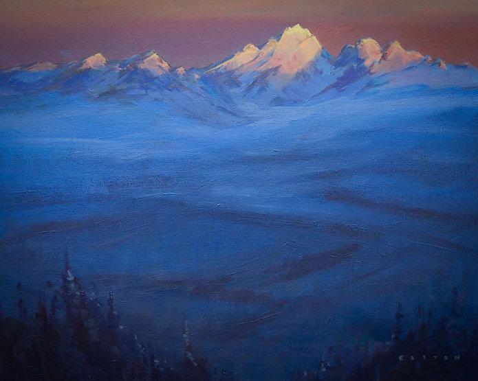 multi-colour arcylic painting titled Waddington Sunrise by artist charlie easton