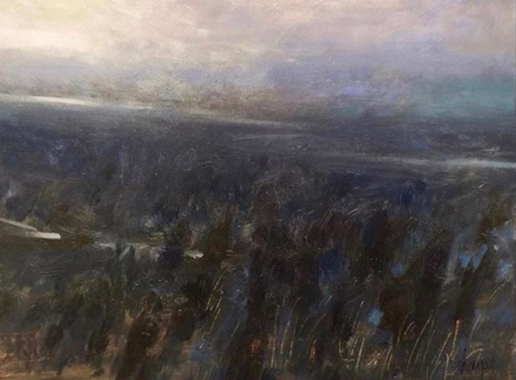 multi-colour oil painting titled Where the River Runs North by artist david sharpe.