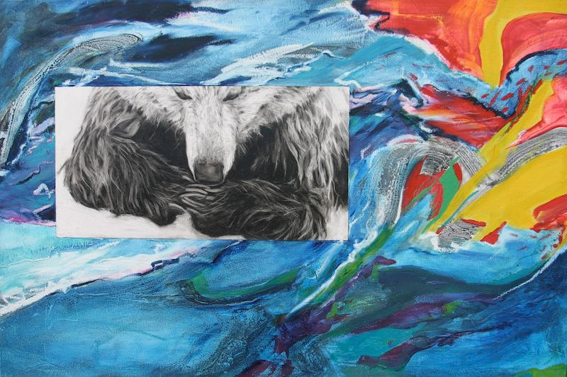 multi-colour mixed media painting titled Upon Examination by artist maureen enns
