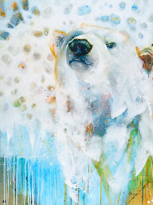 Multi-colour arcylic painting of a bear titled SOLD- Sneak Peak by artist fran alexander