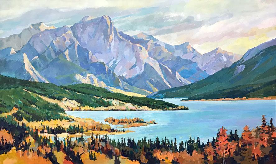 multi-colour arcylic painting titled Autumn-at-Abraham-Lake by artist randy hayashi.