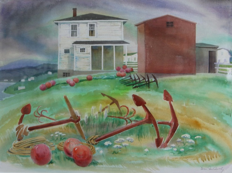 multi-colour watercolour painting titled Uncle's House 1981 by artist doris mccarthy.