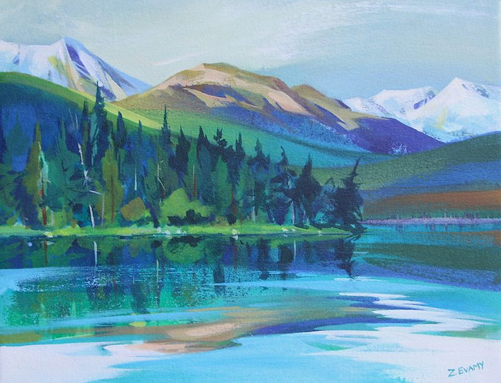 multi-colour arcylic painting titled sold- Lake Edith by artist zoe evamy