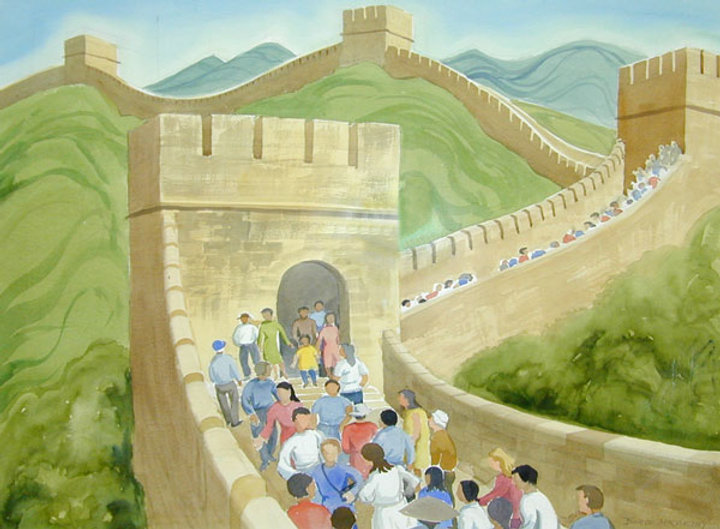 multi-colour watercolour painting titled The Great Wall 1998 by artist doris mccarthy.