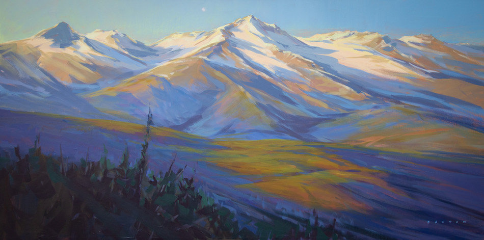 multi-colour arcylic painting titled First Light on Tantalus by artist charlie easton