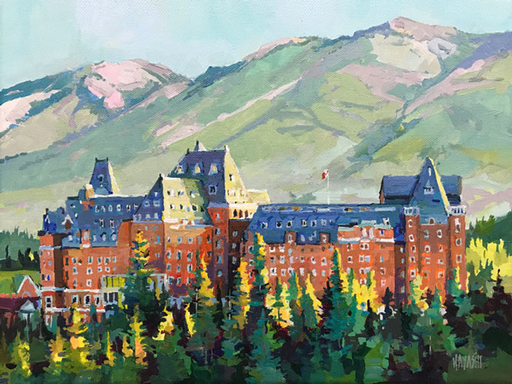 multi-colour arcylic painting titled Banff-Springs-Light-Right by artist randy hayashi.