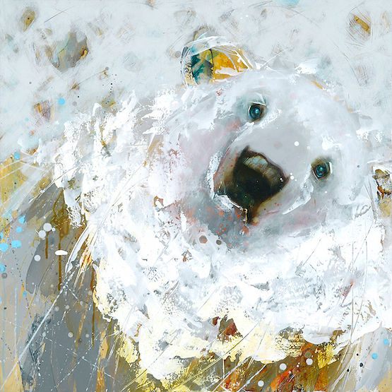 Multi-colour arcylic painting of a bear titled SOLD-Snow Flake by artist fran alexander