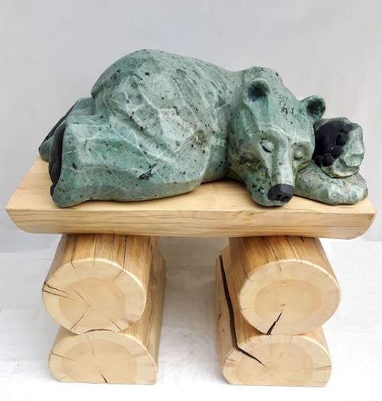 brazilian soapstone scupture titled SOLD- Do Not Disturb (Sleeper Bear) by sculptor roy hinz.