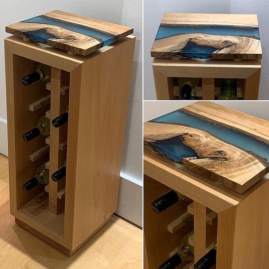 furninture titled SOLD-Wood & Resin Wine Rack by artist benjamin mclaughlin.
