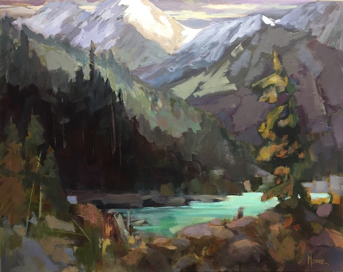 multi-colour acrylic painting titled Alpine Lake by artist andrea moore.