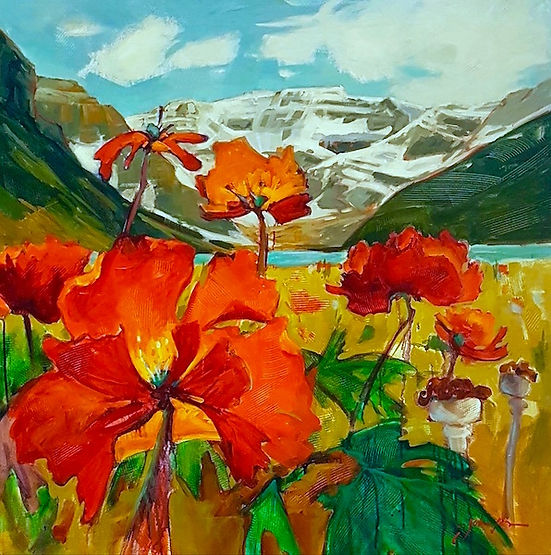 multi-colour acrylic painting titled Mt. Victoria Across from Lake Louise by artist gail johnson.