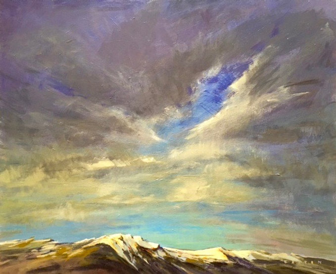 multi-colour arcylic painting titled Clouds Breaking Over the Old Man of Jasper by artist charlie easton