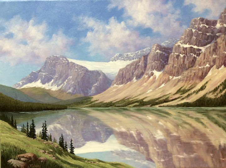 multi-colour oil painting titled SOLD-Bow Lake - Icefields Parkway by artist joe haire.