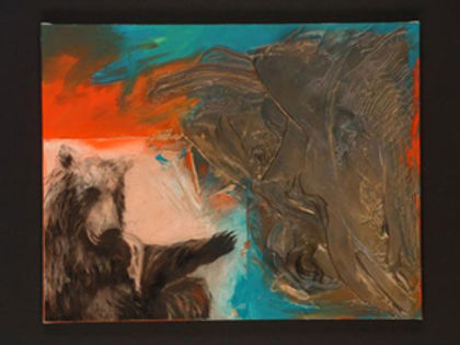 multi-colour mixed media painting titled Testament to Biscuit 2 by artist maureen enns