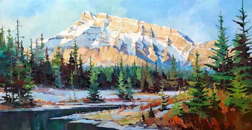 multi-colour arcylic painting titled Rundle from Cascade Ponds by artist randy hayashi.