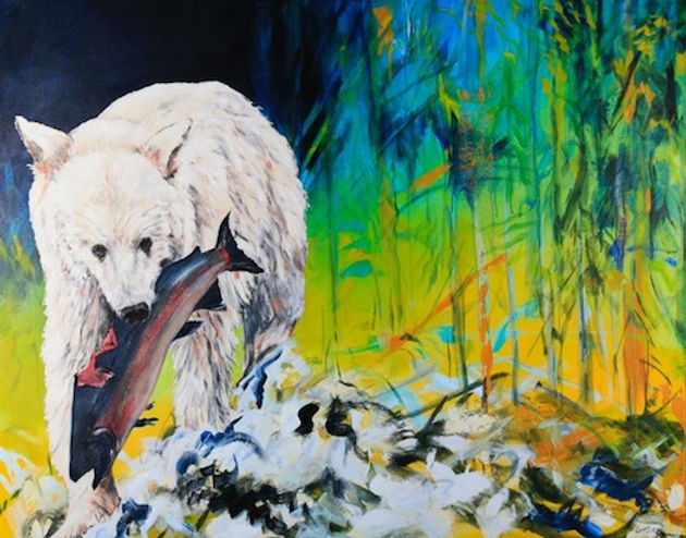 multi-colour mixed media painting titled Spirit of Princess Royal by artist maureen enns