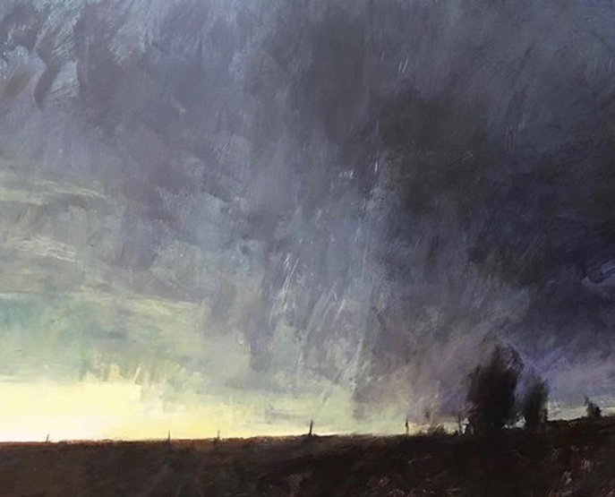 multi-colour oil painting titled Light to the West by artist david sharpe.