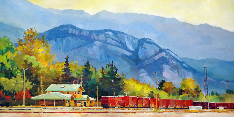 multi-colour arcylic painting titled Squamish Railyard by artist randy hayashi.
