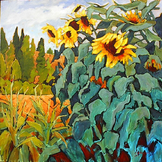 multi-colour acrylic painting titled Summer in Your Heart by artist gail johnson.