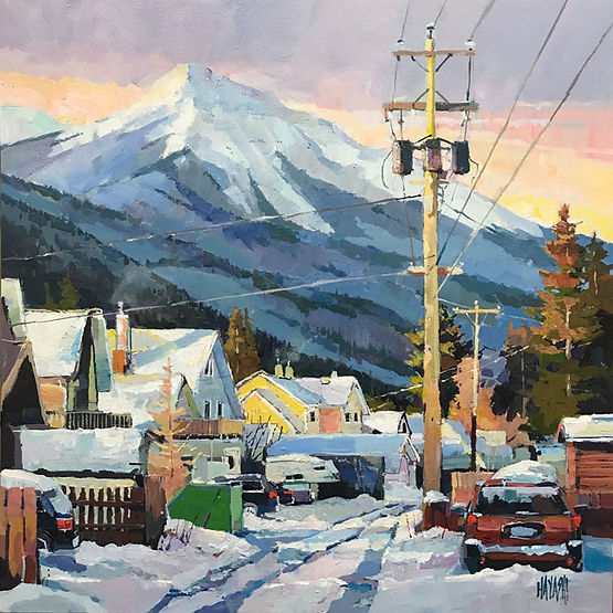 multi-colour arcylic painting titled Jasper Alley Winter by artist randy hayashi.