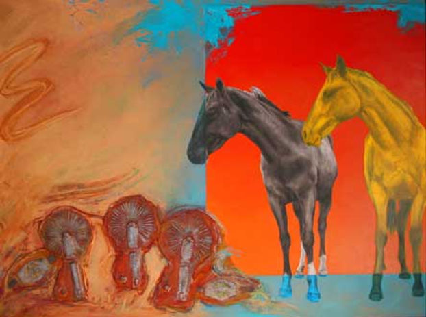 multi-colour mixed media painting titled Ken's Gaucho Spurs by artist maureen enns