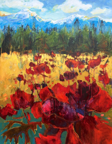 multi-colour acrylic painting titled Meadow Hike by artist gail johnson.