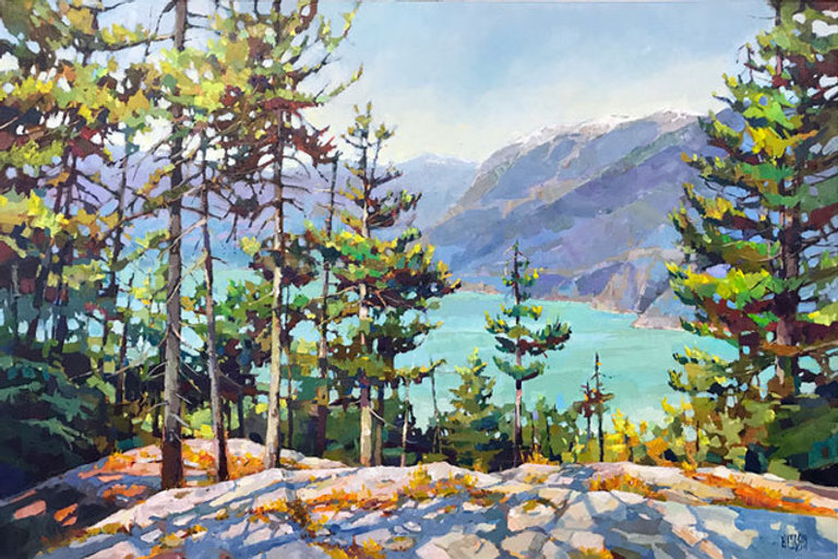 multi-colour arcylic painting titled SOLD-Howe Sound Hues by artist randy hayashi.
