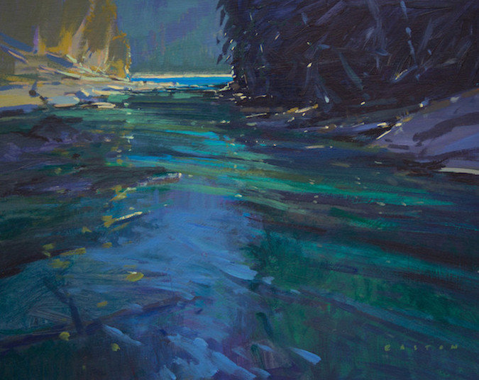 multi-colour arcylic painting titled Approaching Kinney Lake by artist charlie easton