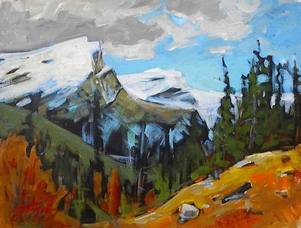 multi-colour acrylic painting titled SOLD - Rundle Study by artist gail johnson.