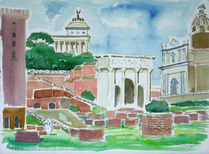 multi-colour watercolour painting titled Foro Romano 2000 by artist doris mccarthy.