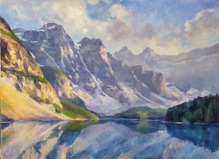 multi-colour oil painting titled MoraineLake-reflections by artist michael downs