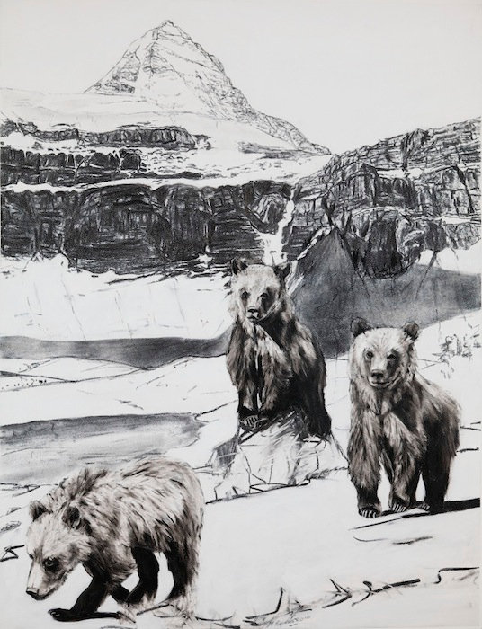 black and white charcoal painting titled Lilly's Cubs pass Mt Assiniboine by artist maureen enns