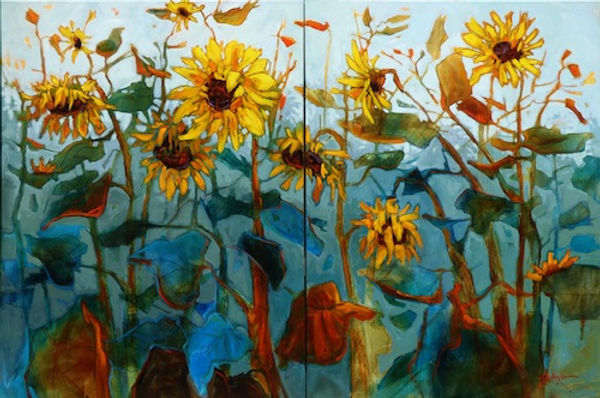 multi-colour acrylic painting titled To Serve the Earth (diptych) by artist gail johnson.