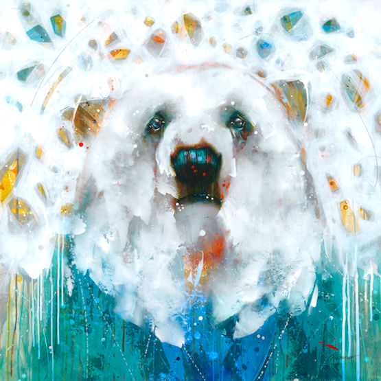 Multi-colour arcylic painting of a bear titled SOLD-Hopeful by artist fran alexander