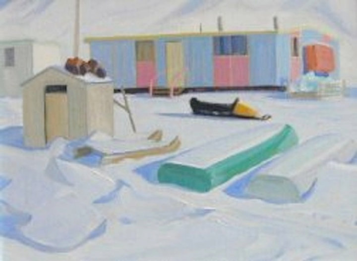 multi-colour oil painting titled Arctic Huts at Pond Inlet 1976 by artist doris mccarthy.