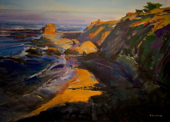 multi-colour arcylic painting titled Andrew Molera, Big Sur 5am by artist charlie easton.