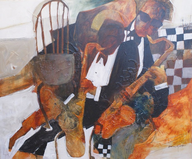 multi-colour mixed media painting titled Musical Chair by artist brian atyeo