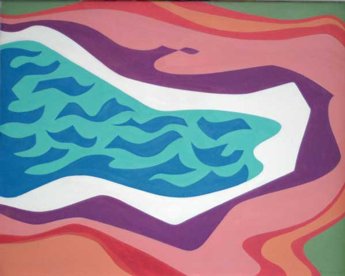 multi-colour oil painting titled Water Movement 1969 by artist doris mccarthy.