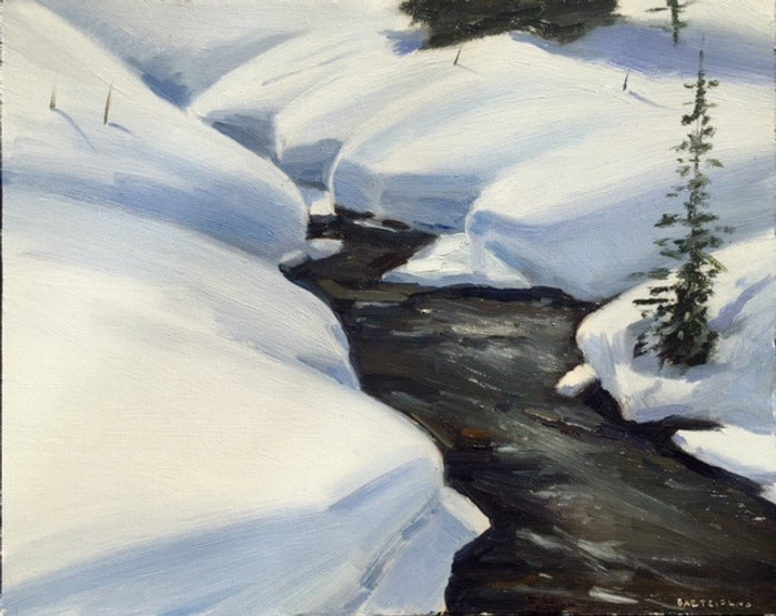 multi-colour oil painting titled Bald Hills Creek by artist  jason bartziokas