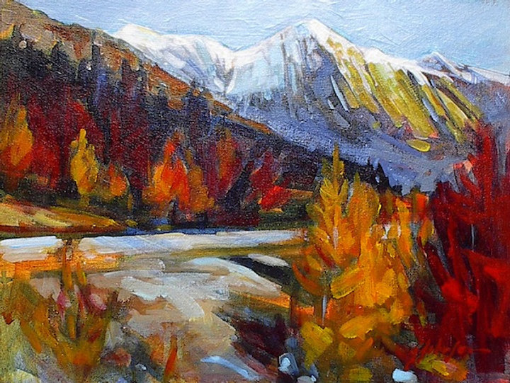 multi-colour acrylic painting titled Road to Maligne by artist gail johnson.
