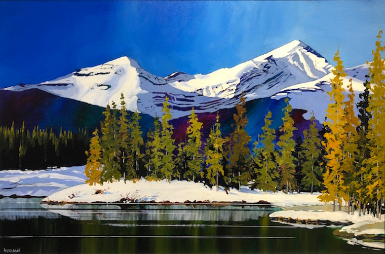 multi-colour acrylic painting titled SOLD - Forget Me Not Pond & Mt. Glasglow by artist phillipa hudson.