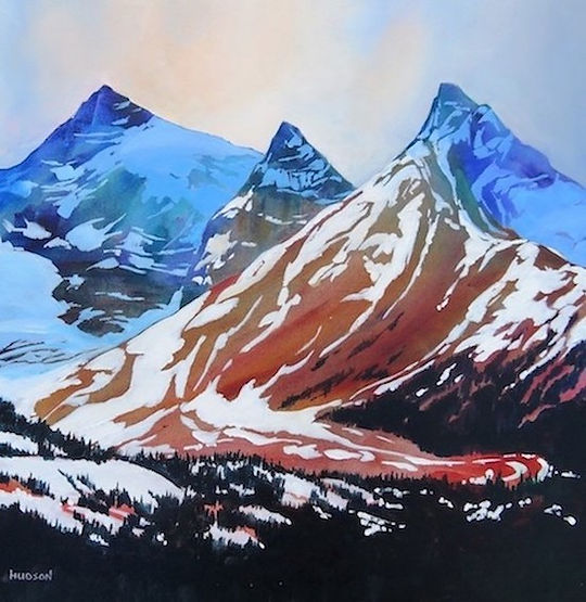 multi-colour acrylic painting titled Along the Icefields Parkway by artist phillipa hudson.
