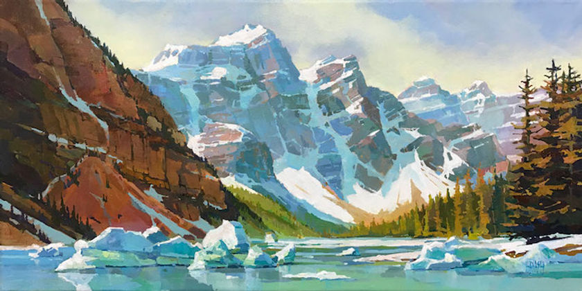 multi-colour arcylic painting titled Imagined Ice at Moraine by artist randy hayashi.