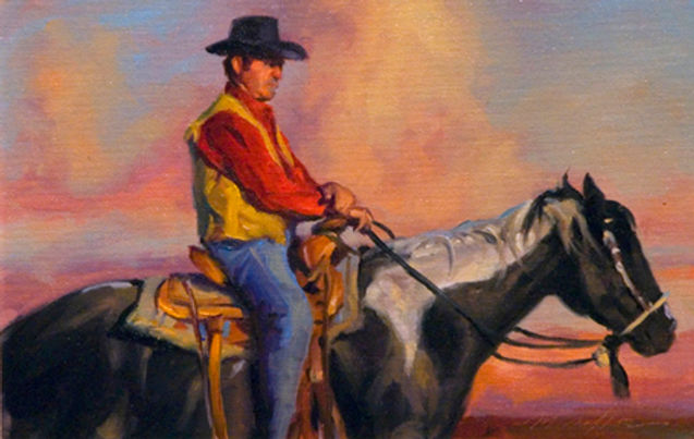 multi-colour oil painting titled The Ride' by artist michael downs