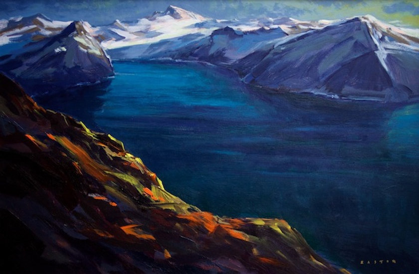 multi-colour arcylic painting titled Garibaldi from Panorama Ridge by artist charlie easton.