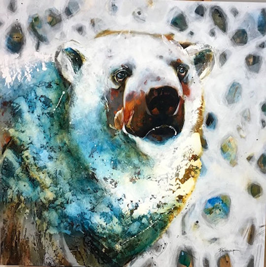 Multi-colour arcylic painting of a bear titled Oh Bother by artist fran alexander