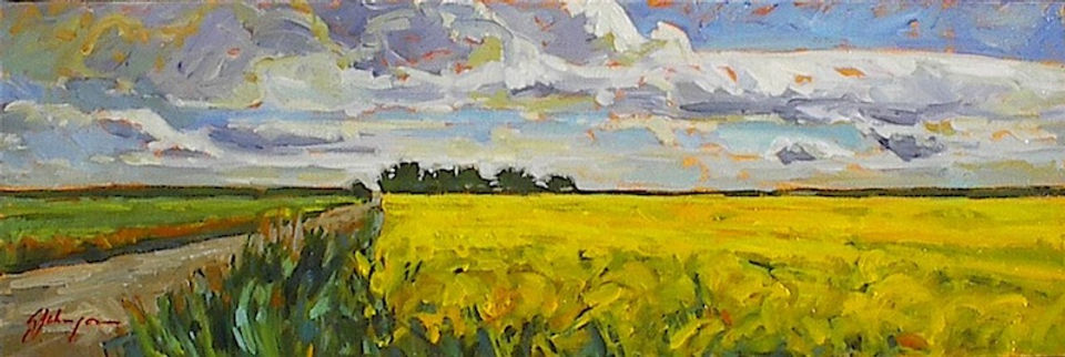 multi-colour acrylic painting titled Storm Clouds Over Canola Fields by artist gail johnson.