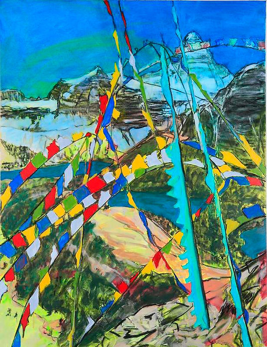 multi-colour mixed media painting titled Prayer Flags for Mt. Assiniboine by artist maureen enns